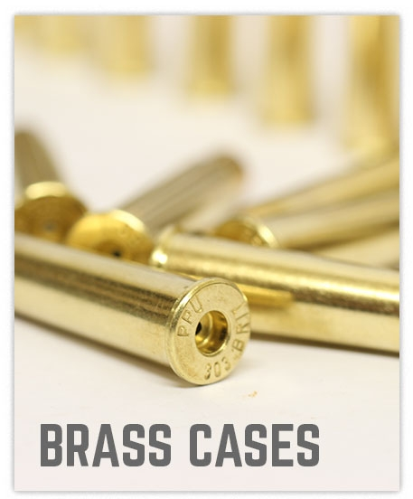 Close up image of brass cases on white background